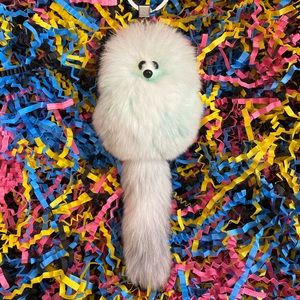 Bag Charm Hand Dyed Faux Fur Pom Keychain